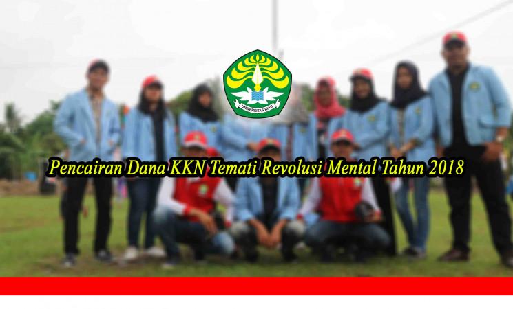 Pencairan Dana KKN Tematik Revolusi Mental Tahun 2018