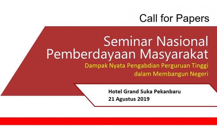 Call for Papers; Seminar Nasional Pemberdayaan Masyarakat (Dampak Nyata Pengabdian Perguruan Tinggi dalam Membangun Negeri)
