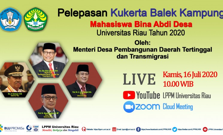 Pelepasan Kukerta Balek Kampung Universitas Riau Tahun 2020 oleh Menteri Desa PDTT dan Gubernur Riau
